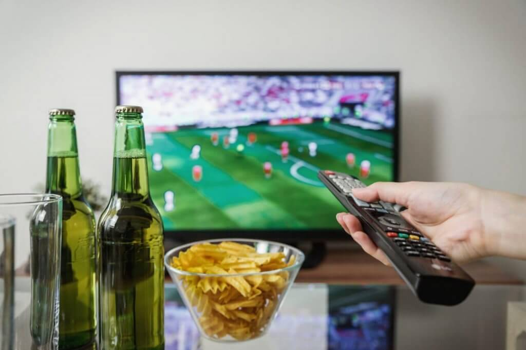Football on tv with snacks